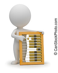 3d small people - abacus - 3d small people with abacus. 3d...
