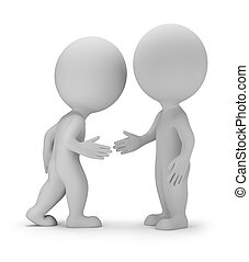 3d small person - handshake. Agreement. 3d image. White background.