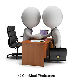 Two 3d small people have signed the agreement near the desk. 3d image. White background.