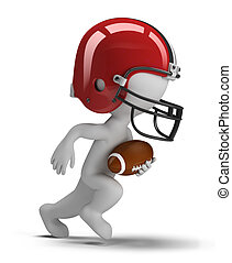 3d small person - american football player running with ball. 3d image. Isolated white background.