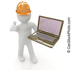 3D small people - an engineer with the laptop on a white...