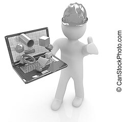 3D small people - an engineer with the laptop presents 3D capabi