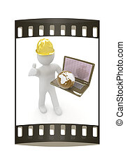 3D small people - an international engineer with the laptop and earth. The film strip