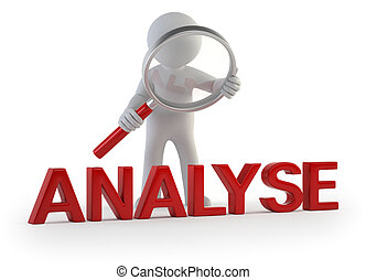 analyzes the little man, Isolated white background