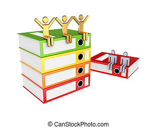 3d small people and colorful folders.