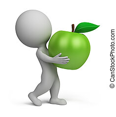 3d small people - apple - 3d small person carrying a green...