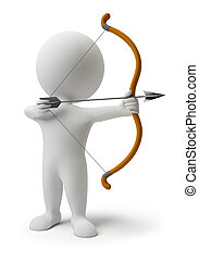 3d small people prepare for shooting an arrow. 3d image. Isolated white background.