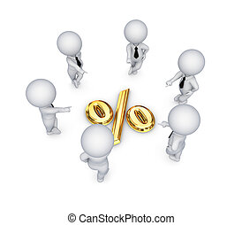 3d small people around percents symbol.