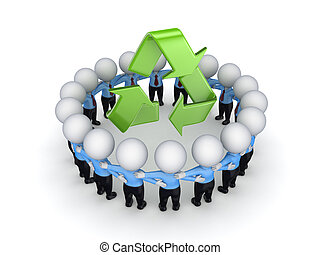 3d small people around recycle symbol.