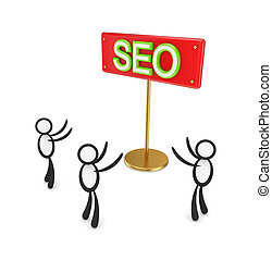 3d small people around red bunner with a word SEO.