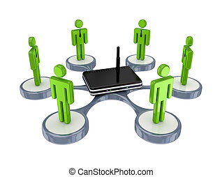 3d small people around router.