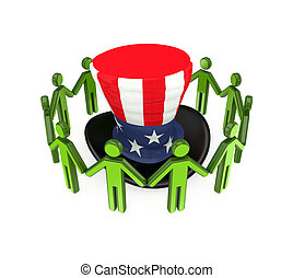 3d small people around Uncle Sam's hat.