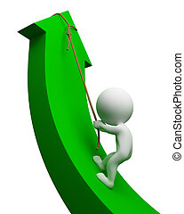 3d small people climbing up an arrow . 3d image. Isolated white background.