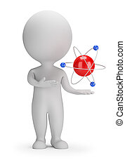 3d small people - atom - 3d small person near the atom. 3d...