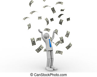 3d small people bathing in a heap of money. Dollar rain  Isolated white background.