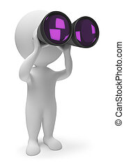 3d small people - binoculars - 3d people with the field-...
