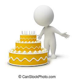3d small people - birthday cake