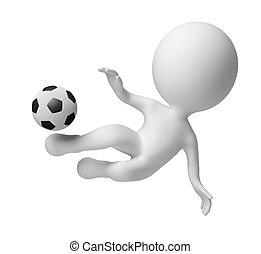 3d small people - blow in a jump - 3d small people - soccer...