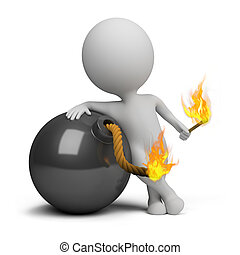 3d small person bomb igniting the wick. 3d image. Isolated white background.