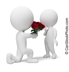 3d people a giving bouquet of red roses for the darling. 3d image. Isolated white background.