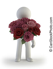 3d small people - bouquet of rose
