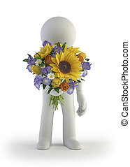 3d small people - bouquet of sunflower