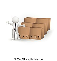3d small people boxes worldwide delivery