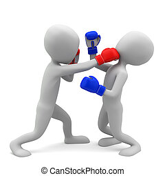 3d small people boxing. 3d image. On a white background