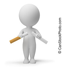 3d small person breaking a cigarette. 3d image. Isolated white background.