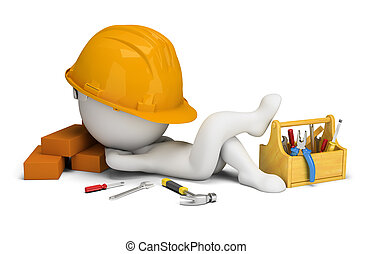 3d small people - builder sleeps in the workplace
