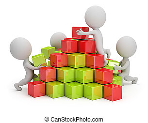 3d small people are building a pyramid of colored cubes. 3d image. White background.