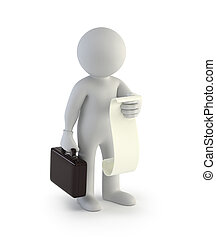 3d small people - businessman with a list of cases, Isolated...