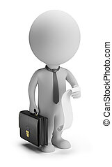 3d small people - businessman with a list of cases - 3d...