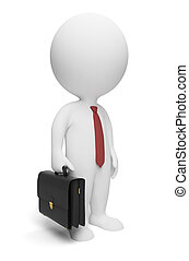 3d small people - businessman with a portfolio and a tie. 3d image. Isolated white background.