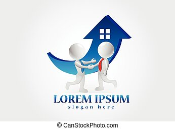 3D small people. Buying a house logo