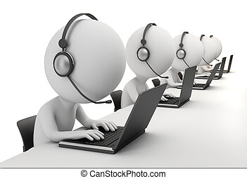 3d small person - operators sitting at laptops in ear-phones with a microphone. 3d image. Isolated white background.