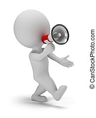 3d small person call through a megaphone. 3d image. White background.