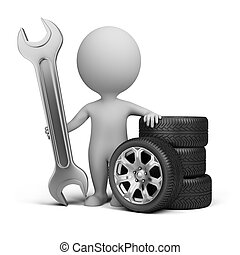 3d small person stands next to the wheels and holding a wrench. 3d image. Isolated white background.