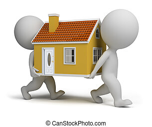 3d small people carrying home. 3d image. Isolated white...