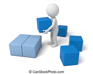 cubes - 3d small people carrying some cubes. 3d image. ...