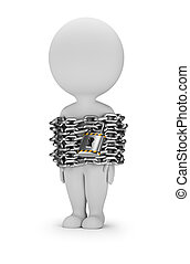 3d small person is standing in chains. 3d image. White background.