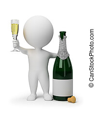 3d small people with a bottle of champagne and a wine glass. 3d image. Isolated white background.