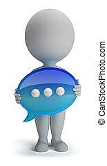 3d small person with his hands in the chat icon. 3d image. Isolated white background.
