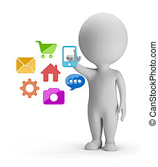 3d small people choosing mobile application. 3d image. White background.