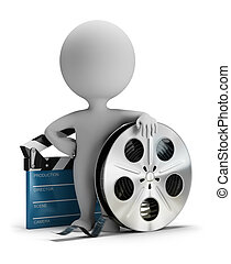 3d small people - cinema clapper and film tape - 3d small ...