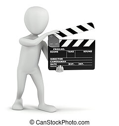 3D small people - cinema clapper. 3D image. On a white...