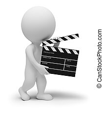 3d small people - director with clapper for movie. 3d image. Isolated white background.