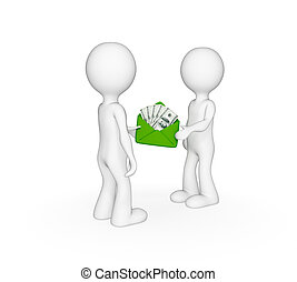 3d small people giving each other money. Isolated on white...