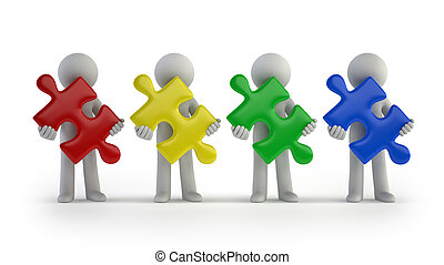 3d small people - colorful puzzle pieces