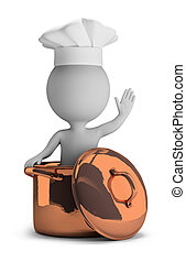 3d small person - cook in a copper pan in a welcome pose. 3d image. Isolated white background.